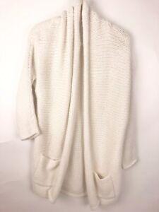GAP Womens Size L Ivory Chunky Knit Cardigan Sweater Soft Cozy!