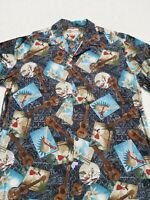 Hilo Hattie Mens Hawaiian Shirt XL Camp Button Front Shirt Guitar Huts Surf Isla