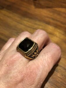 Vintage Gold Stainless Steel Genuine Black Faceted Onyx Size 9 Men's Ring