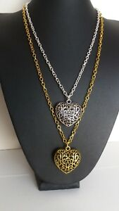 """NECKLACE HEART SHAPE HOLLOW FILAGREE PENDANT ON 24"""" GOLD OR SILVER TONE CHAIN"""