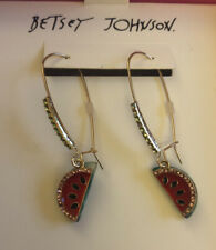 Betsey Johnson Watermelon Long Drop Gold Tone Pave Crystal Earrings