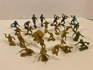 Original MARKED 1963 Marx Mixed Lot of 26 Soldiers German Japanese & others