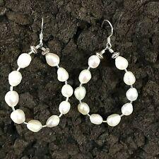 """Silver Hoop Earrings 2"""" Baroque Freshwater Pearl Sterling"""