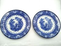 (2) Royal Doulton Plate Blue and White England WATTEAU Pattern Flo-Blue 9-1/2""