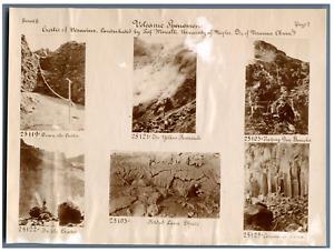 Volcanic Phenomen, Crater of Vesuvins Vintage print. 6 photos 4 x 6 cm.  Tirag
