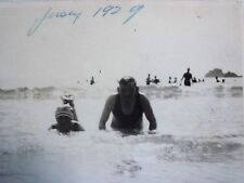 RPPC N.J. BEACH GOERS IN WAVES OF THE JERSEY SHORE c1929 REAL TIC PHOTO POSTCARD