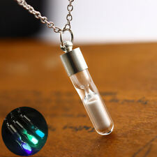 Purple Glowing Bottle Hourglass Pendant Glass Sand Timer Silver Chain Necklace