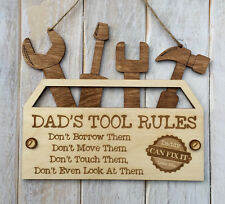 Personalised Fathers Day Gift Birthday Gift for Dad Tool Rules Tool Box Sign