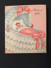 Vintage Baby Girl Birth Announcement Greeting Cards It's a Girl Scrapbooking