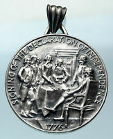 1976 USA 1776 Thomas Jefferson DECLARATION of INDEPENDENCE Silver Medal i83771