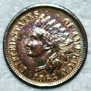 AU-UNC 1864-L Indian Head Cent, Sharp, Semi-Key specimen.