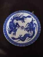 ancienne assiette asiatique en porcelaine-décor bleu-dragons-asiatic  porcelain