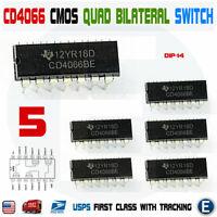 5PCS CD4066BE CD4066 CMOS QUAD BILATERAL SWITCH Dip-14 IC