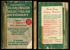 EVERYBODY'S ITALIAN-ENGLISH-HANDY POCKET DICTIONARY-Phonetic-David Mckay