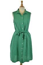Lands' End Women Dresses Fit & Flare 12 Green Linen