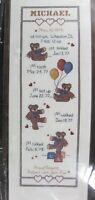 Bear Growth Chart 39-50 Counted Cross Stitch Kit Janlynn 9x24 Jean Fox