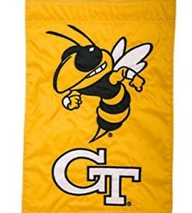 "Georgia Tech-Garden Flag-Double Sided Appliqued-12.5""x18"""