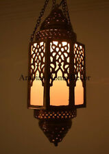 """Handcrafted 18"""" height Moroccan Brass Ceiling light Fixture Hanging Lantern Lamp"""