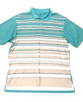 Mens ADIDAS CLIMALITE Turqoise White Striped Golf Polo Shirt Short Sleeve 2XL