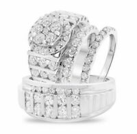 His And Her Diamond Wedding 14K White Gold Over Trio Bridal Engagement Ring Set