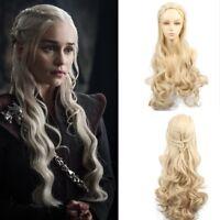 Game Of Thrones Daenerys Targaryen Cosplay Wig Long Blonde Wavy Braid Wigs