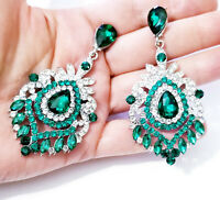 Green Rhinestone Chandelier Earrings Bridal Prom 3 inch