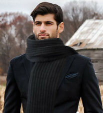 """Uu7 GIFT MENS WOMENS SCARF KNIT HAND  FOR FALL/WINTER Long70""""x9,5"""""""" black"""