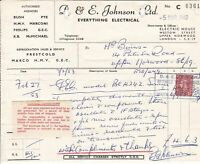 D. & E. Johnson Ltd London 1953 Everything Electrical Stamp  Receipt Ref 38030