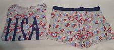 New Womens NiteNite USA Hearts 2Pc Short Sleeve Shirt & Shorts Pajama Set M