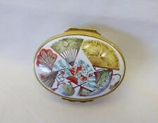"Halcyon Days Enamel Box England Colorful Fans on Top and Sides 2"" L  X  1.75"" W"