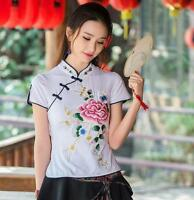 Womens Chinese style Embroidery Cotton Blend Tops T-shirt Blouse Floral Coat New