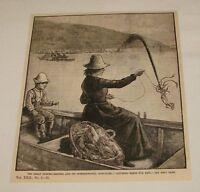 1886 magazine engraving ~ CATCHING SQUID FOR BAIT