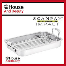 NEW Scanpan Impact 18/10 S/Steel Roasting Pan W/Rack 42cm x 26cm! RRP $169