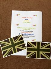 2X  ARMY GREEN UNION JACK FLAG STICKERS WOLF WMIK SNATCH DEFENDER LAND ROVER