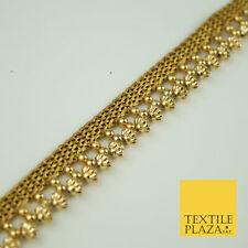 Cono De Perla Con Textura De Oro Antiguo Adorno De Cinta Con Cuentas frontera indio de encaje X321