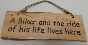 A BIKER & THE RIDE OF HIS LIFE LIVES HERE COFFEE SIGN NOVELTY UK SELLER