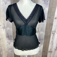 VINCE. Women's Size XS V-Neck Blouse Top Lace Trim Short Sleeve Black NEW