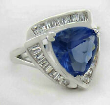 TANZANITE 6.72 Cts & WHITE SAPPHIRES RING Silver Plated * New With Tag *