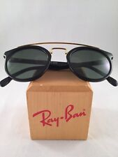 Vintage Ray Ban Bausch and Lomb Gold Black Round Gatsby Style 4 New NOS