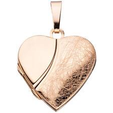 Medaillon Herz für 2 Fotos 925 Silber rotgold vergoldet Anhänger zum Öffnen.