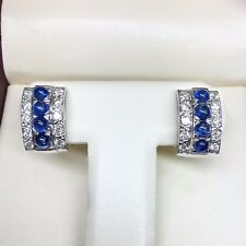 14K WHITE GOLD DIAMOND AND BLUE CABOCHON SAPPHIRE CLIP-ON HUGGIE EARRINGS