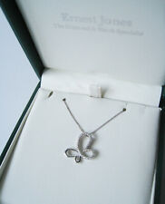 New (without tags) - Ernest Jones 9CT White Gold Diamond Butterfly Necklace.