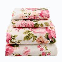 Beautiful Bedding Super Soft Egyptian Comfort Sheet Set Pink & Olive Floral