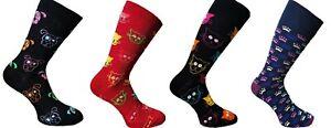 Fashion New Mens Animal Design Cat Dog Soft Cotton Rich Mid Calf Socks UK 6-11