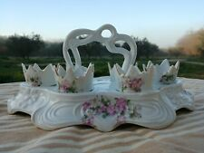6 Coquetiers sur présentoir Porcelaine ancienne charmant décor floral