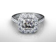 2 1/2 carat cushion CUT D/VVS2 DIAMOND  ENGAGEMENT RING 14K WHITE GOLD GIFT
