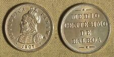 Error: Panama 1/2 Ct. 1907 Xf+ Die Doubling Both Sides past cleaning Ec3983