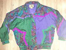 Vintage Otello Pelle Xl Windbreaker Jacket Full Zip Purple Green Floral