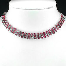 Sterling Silver 925 Genuine Natural Rhodolite Gem Three Row Necklace 20.5 Inch