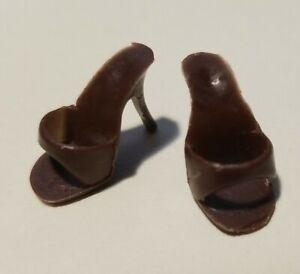 Vintage Barbie Shoes- BROWN Open Toe Japan Heels  Mules ~ No Splits